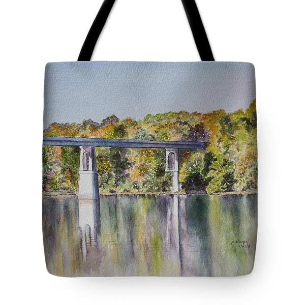 Tote Bag featuring the painting Bridge Over The Cumberland by Patsy Sharpe
