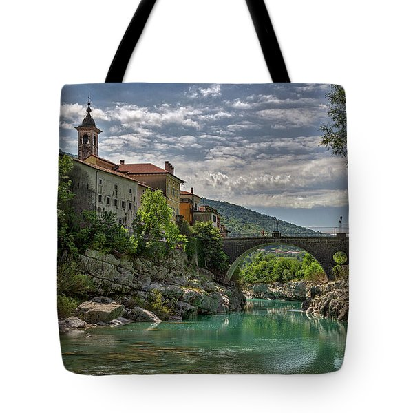 Tote Bag featuring the photograph Bridge Over The Soca - Kanal Slovenia by Stuart Litoff