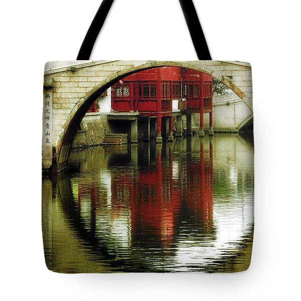 Bridge Over The Tong - Qibao Water Village China Tote Bag by Christine Till