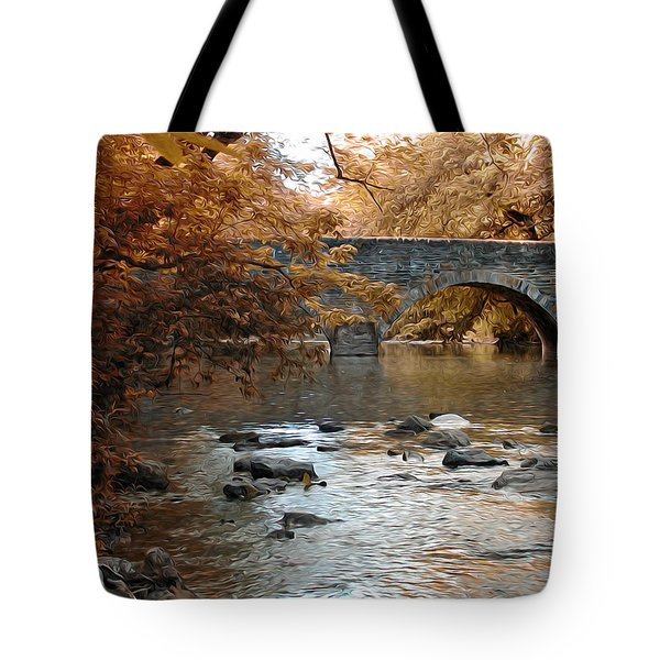 Bridge Over The Wissahickon At Valley Green Tote Bag by Bill Cannon