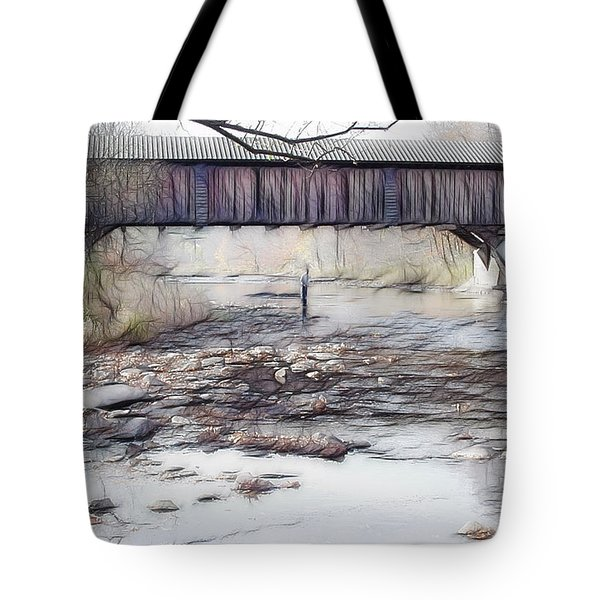Tote Bag featuring the photograph Bridge Over Troubled Waters by EricaMaxine  Price
