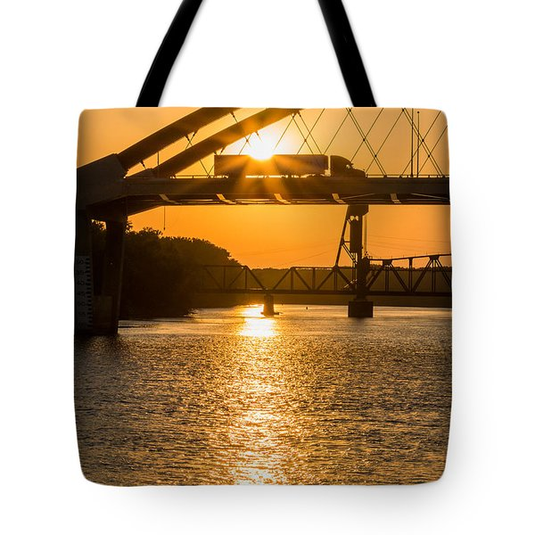 Bridge Sunrise 2 Tote Bag by Patti Deters