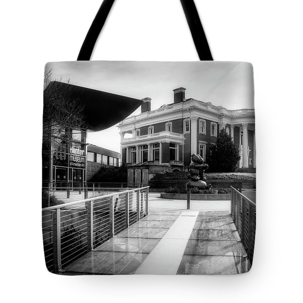 Tote Bag featuring the photograph Bridge To Hunter Museum In Black And White by Greg Mimbs