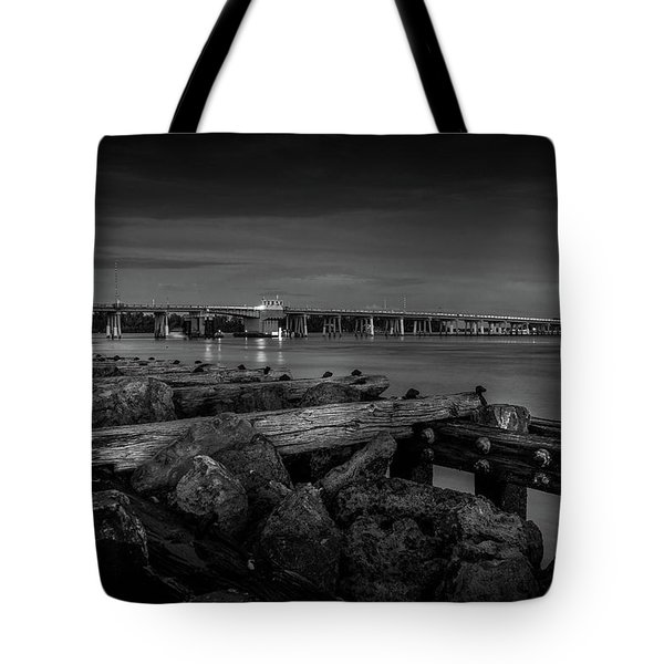 Tote Bag featuring the photograph Bridge To Longboat Key In Bw by Doug Camara