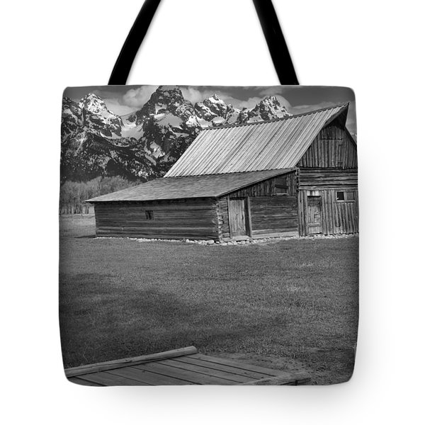 Bridge To The Barn Black And White Tote Bag by Adam Jewell