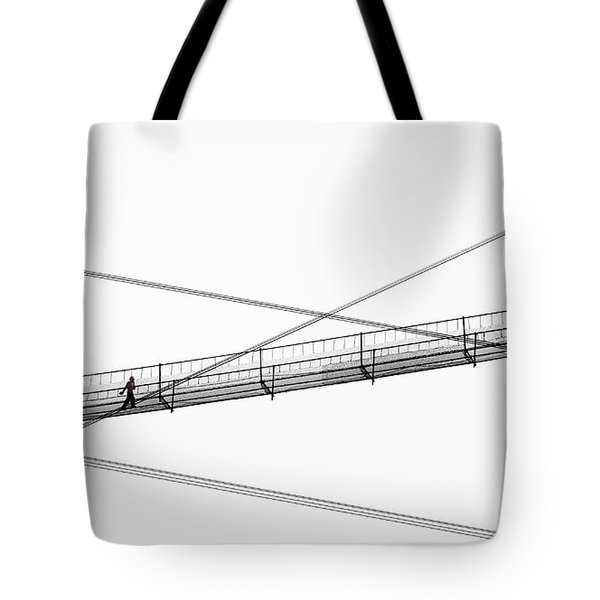Tote Bag featuring the photograph Bridge Walker by Joe Bonita