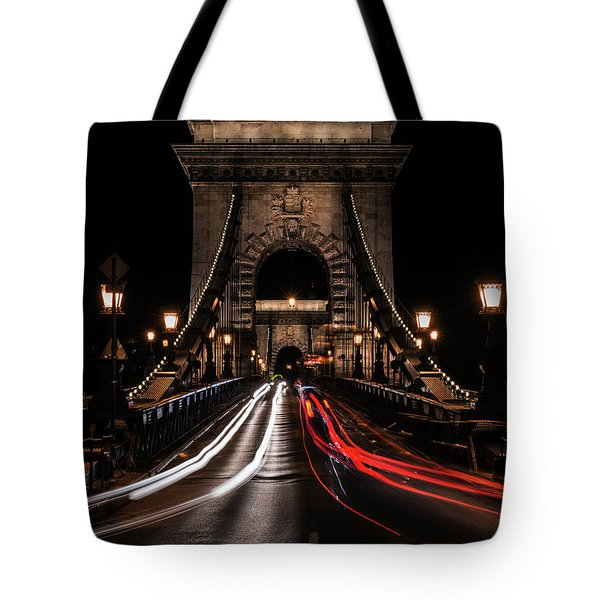 Bridges Of Budapest - Chain Bridge Tote Bag by Jaroslaw Blaminsky