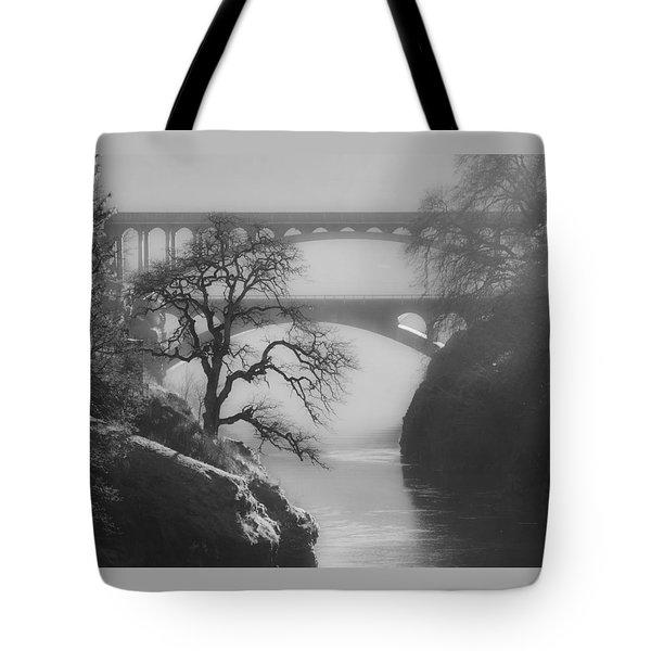 Bridges Over The Klickitat 2 Tote Bag by Angie Vogel