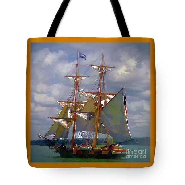 Tote Bag featuring the digital art Brig Niagra 2017 by Kathryn Strick