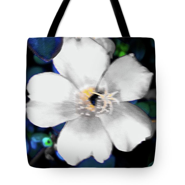 Bright Blue Accents White Vinca Tote Bag