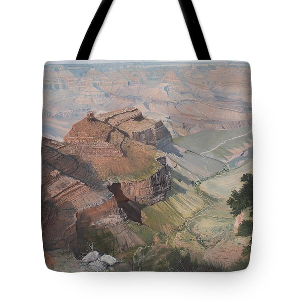 Bright Angel Trail Looking North To Plateau Point, Grand Canyon Tote Bag