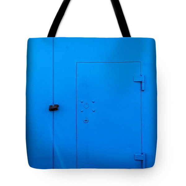 Bright Blue Locked Door And Padlock Tote Bag