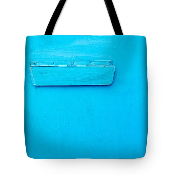 Tote Bag featuring the photograph Bright Blue Paint On Metal With Postbox by John Williams