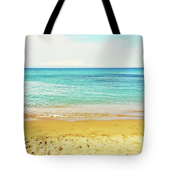 Bright Blue Sea And Sand Beach Tote Bag