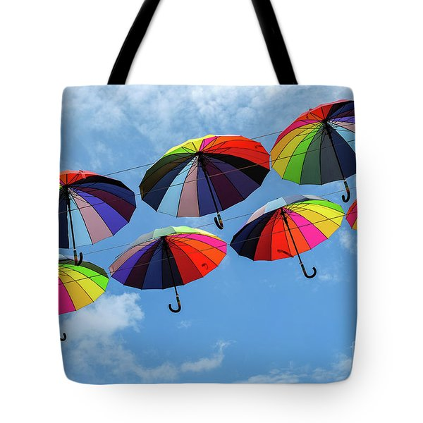 Bright Colorful Umbrellas  Tote Bag