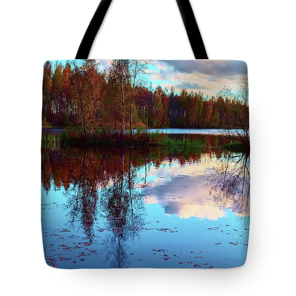 Bright Colors Of Autumn Reflected In The Still Waters Of A Beautiful Forest Lake Tote Bag