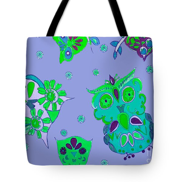 Bright Eyed Owls Tote Bag by Beth Saffer