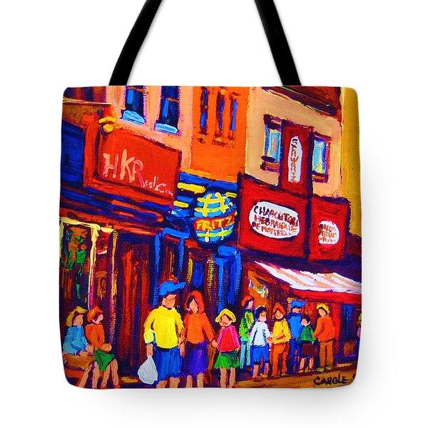 Bright Lights On The Main Tote Bag by Carole Spandau