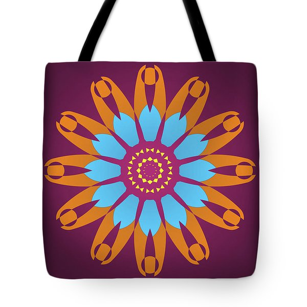 Bright Purple Back And Abstract Orange And Blue Star Tote Bag