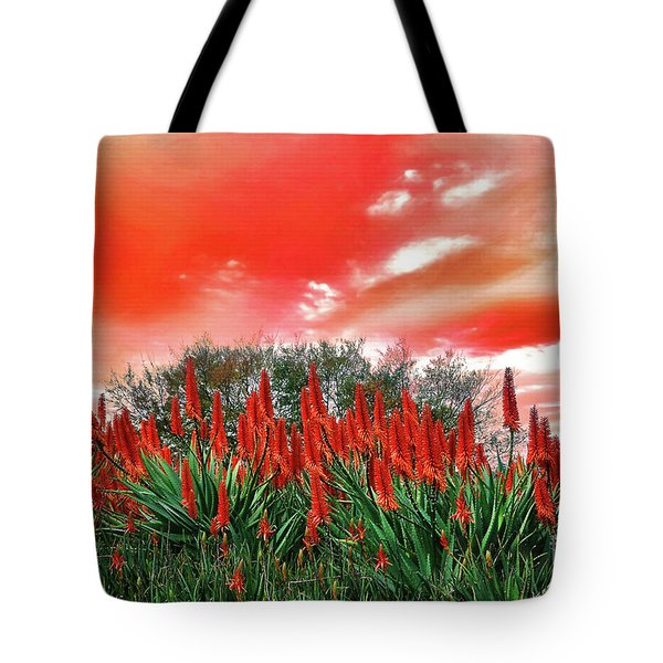 Tote Bag featuring the photograph Bright Red Aloe Flowers By Kaye Menner by Kaye Menner