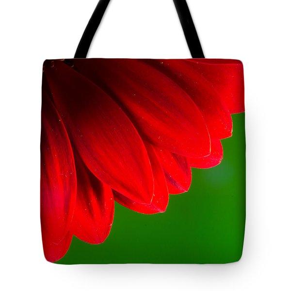 Bright Red Chrysanthemum Flower Petals And Stamen Tote Bag by John Williams