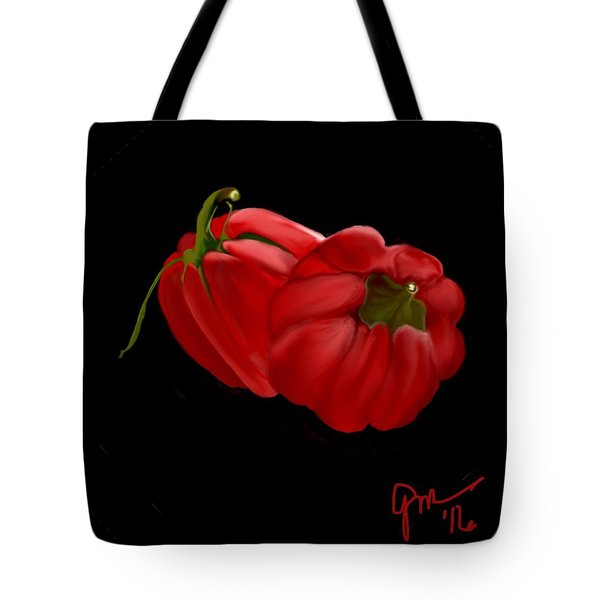 Bright Red Peppers Tote Bag