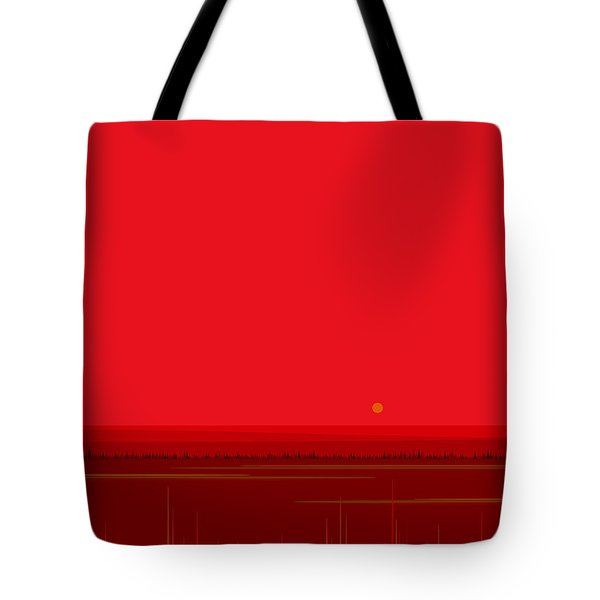 Tote Bag featuring the digital art Bright Red Sunset Landscape by Val Arie