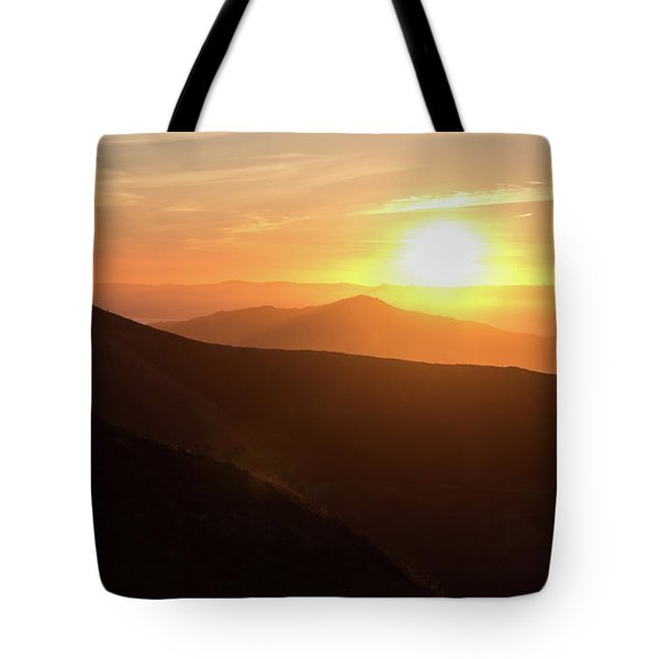 Bright Sun Rising Over The Mountains Tote Bag