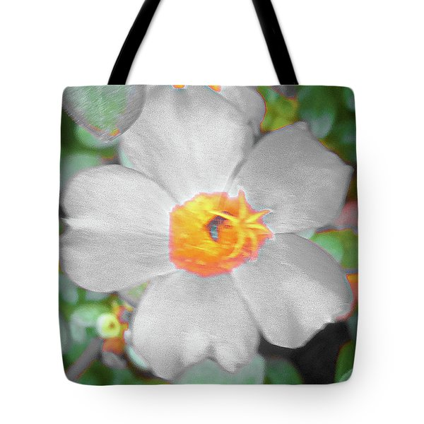 Bright White Vinca With Soft Green Tote Bag