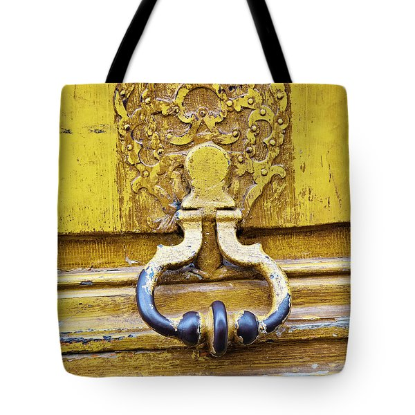 Tote Bag featuring the photograph Bright Yellow Door - Paris, France by Melanie Alexandra Price