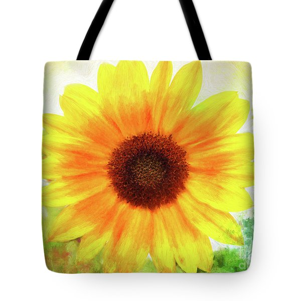 Bright Yellow Sunflower - Painted Summer Sunshine Tote Bag