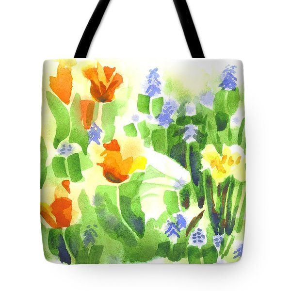 Tote Bag featuring the painting Brightly April Flowers by Kip DeVore