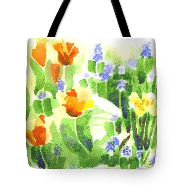 Brightly April Flowers Tote Bag by Kip DeVore