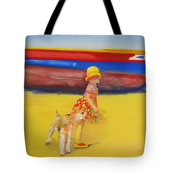 Brightly Painted Wooden Boats With Terrier And Friend Tote Bag by Charles Stuart