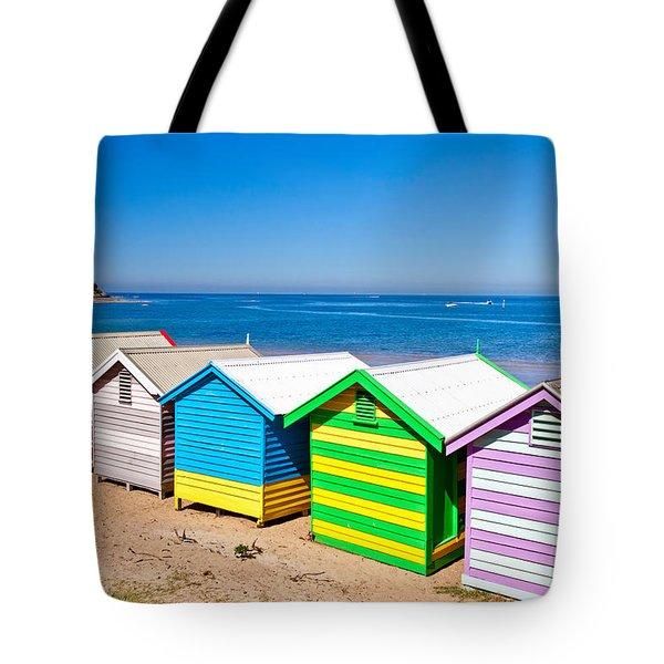Brighton Beach Huts Tote Bag