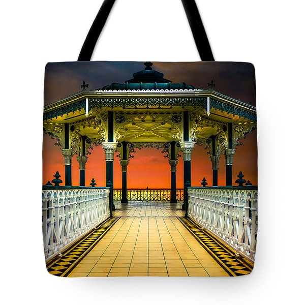 Tote Bag featuring the photograph Brighton's Promenade Bandstand by Chris Lord