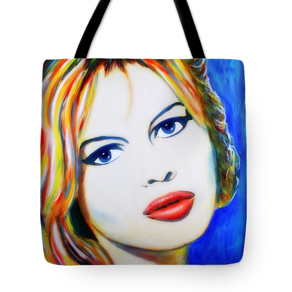 Tote Bag featuring the painting Brigitte Bardot Pop Art Portrait by Bob Baker