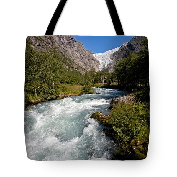 Briksdal Glacier Melting Waters Tote Bag