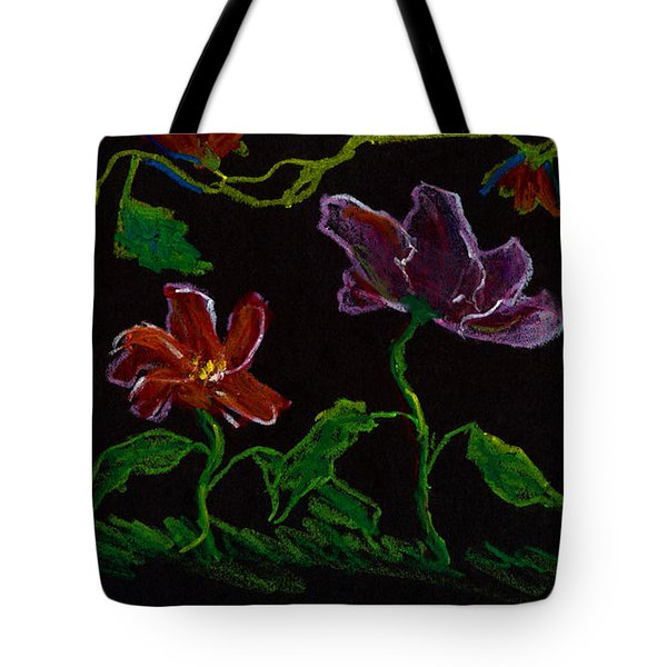Brilliant Flowers On Black Hand Drawn Tote Bag by Lenora  De Lude
