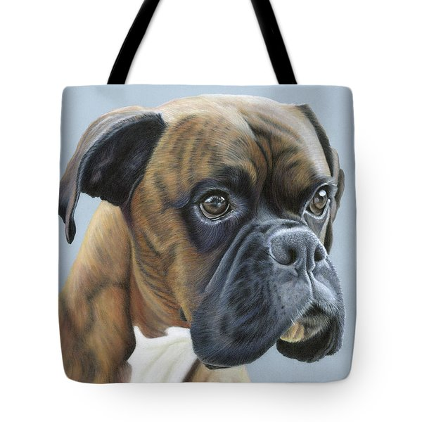 Tote Bag featuring the painting Brindle Boxer Dog - Jack by Donna Mulley