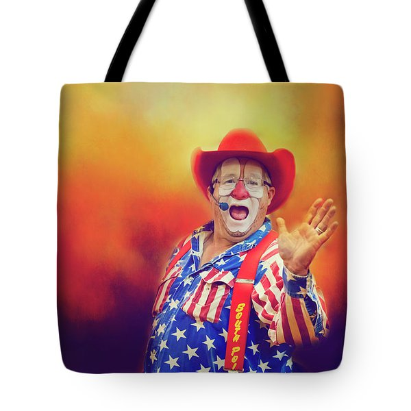 Tote Bag featuring the photograph Bringing Fun To The Rodeo Greek Ellick Jr.  by Toni Hopper