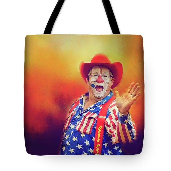 Bringing Fun To The Rodeo Greek Ellick Jr.  Tote Bag by Toni Hopper