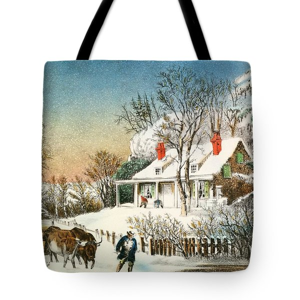 Bringing Home The Logs Tote Bag by Currier and Ives