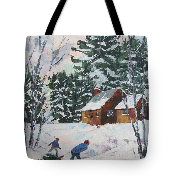 Bringing In The Tree Tote Bag
