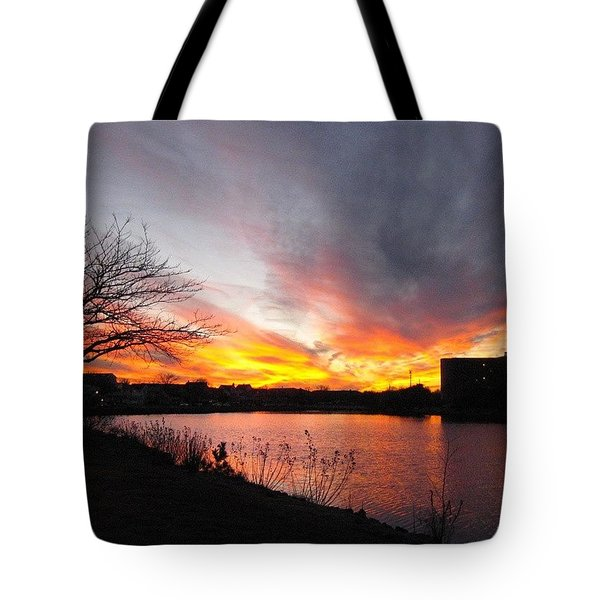 Fire In The Sky Tote Bag by Lauren Fitzpatrick