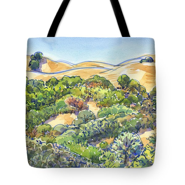 Tote Bag featuring the painting Briones Regional Park Hills by Judith Kunzle