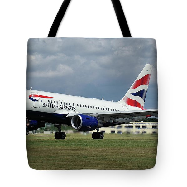 British Airways A318-112 G-eunb Tote Bag by Tim Beach
