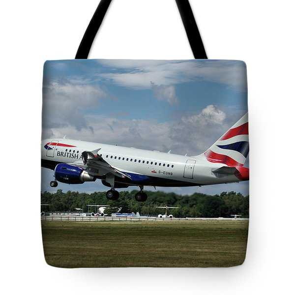 British Airways Airbus A318-112 G-eunb Tote Bag by Tim Beach