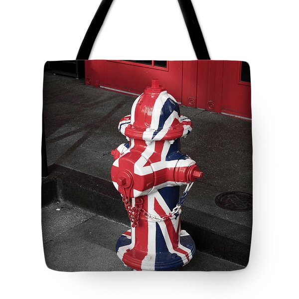 British Fire Hydrant Tote Bag by Rae Tucker