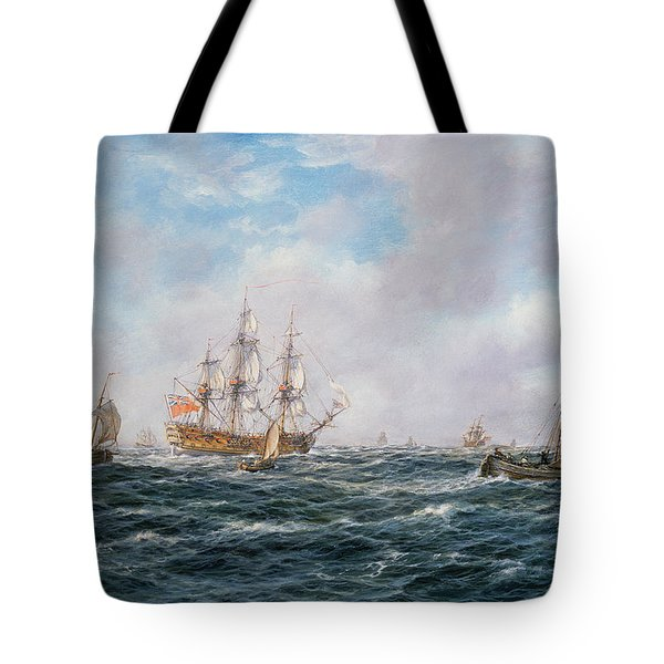 British Man-o-war And Other Craft Tote Bag by Richard Willis
